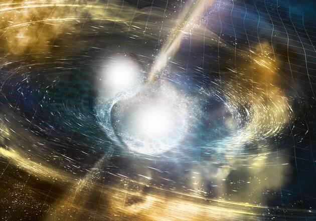 Première observation de la coalescence de deux étoiles à neutrons, avec les signaux gravitationnel et électromagnétique associés. National Science Foundation/LIGO/Sonoma State University/A. Simonnet.)